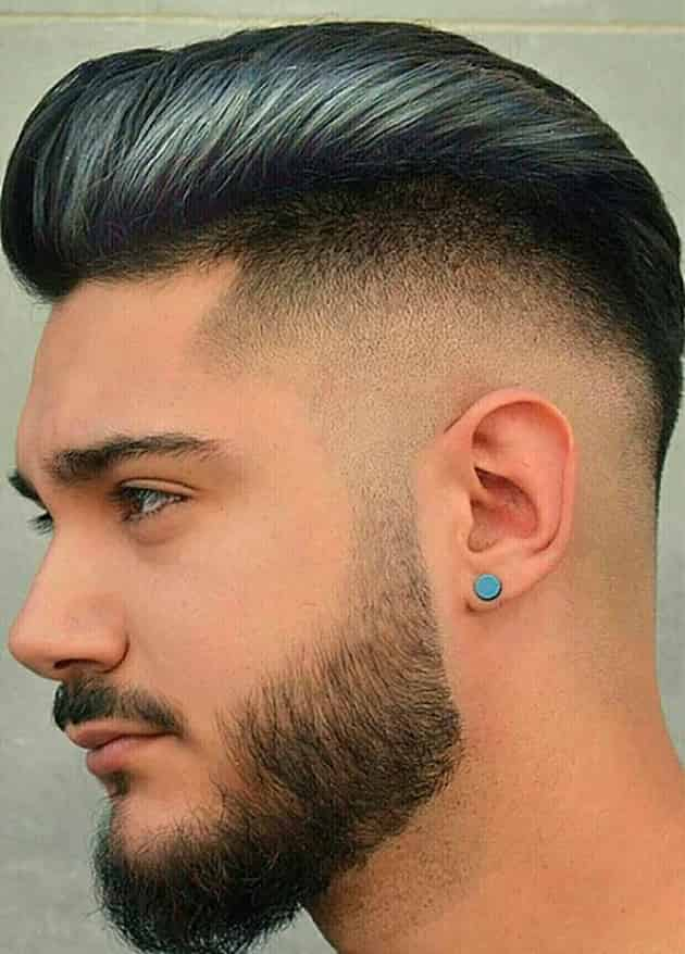 Medium Pomp with Fade Hairstyle