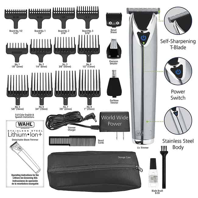 wahl hair clipper multigrommer 9818 stainless steel trimmer