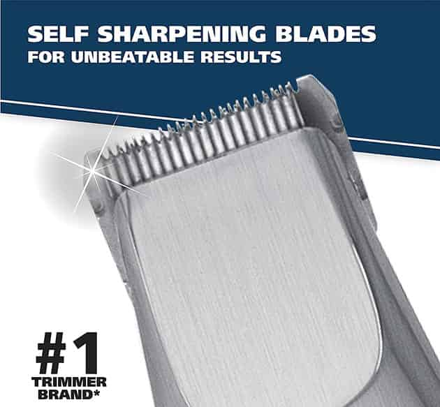 wahl groomsman beard trimmer self-sharpening blades